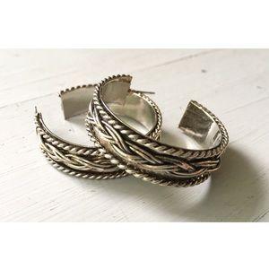 Vintage Sterling Semi Hoop Earrings